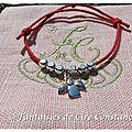 bracelet coton ciré rouge ange perles argent-2