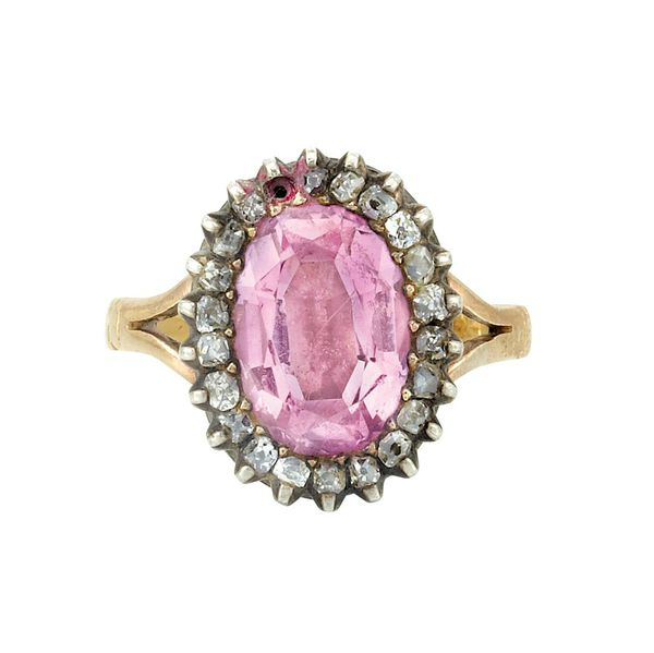 Silver Ring Oval Pink Topaz  Leaves