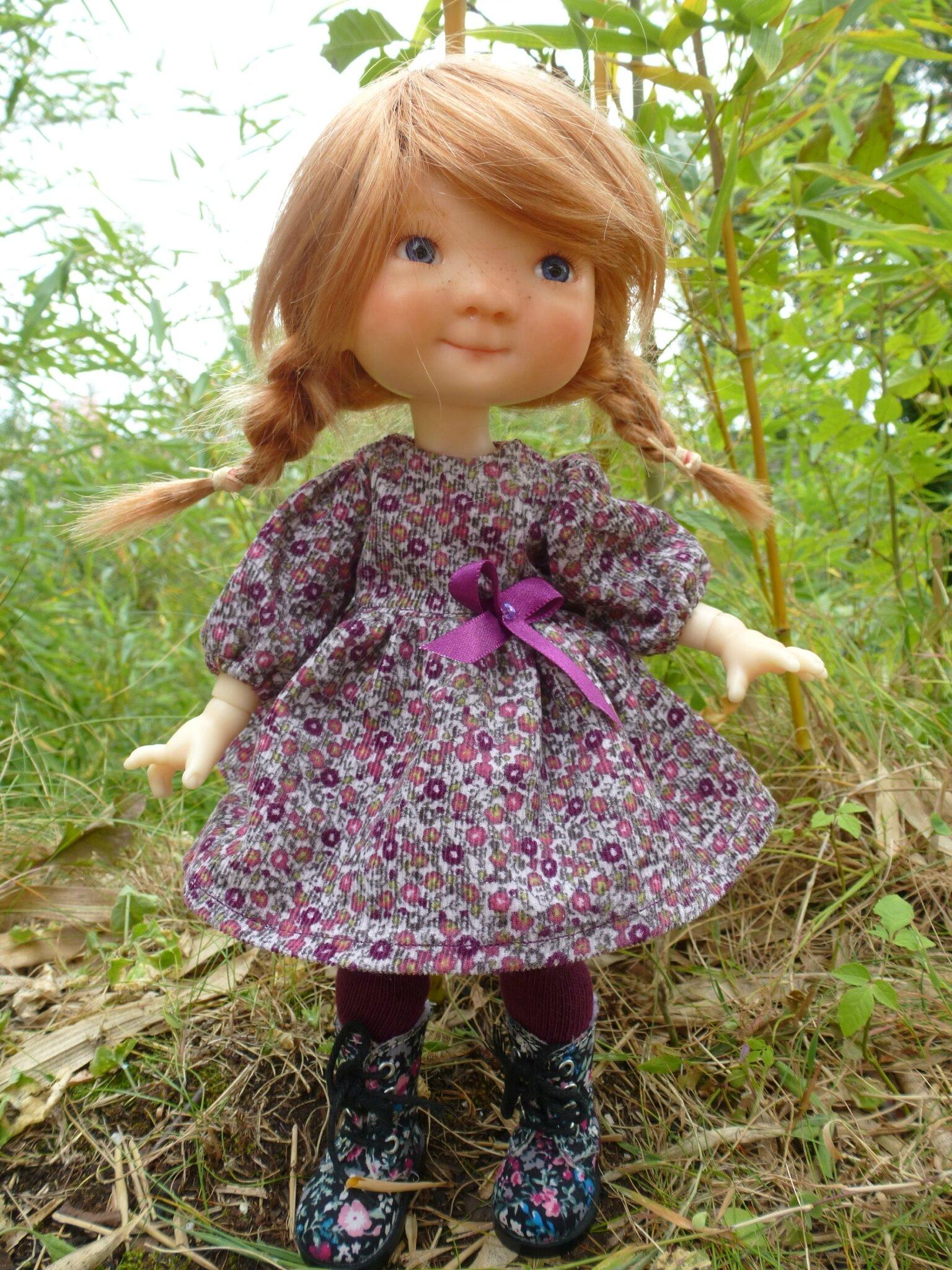 Robe d'automne en velours et leggins, pour Patti, mini Saffi...plus disponible,peut être refaite. 15 € et 2,40fdp