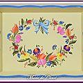 Plateau Bois peint Couronne fleurs et fruits 34x26x5cms 1
