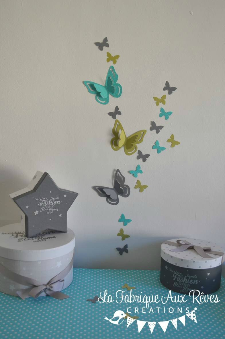 Stickers papillons 3d turquoise anis gris d coration for Decoration chambre 3d
