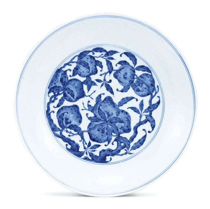 A blue and white 'peach' dish, Seal mark and period of Qianlong