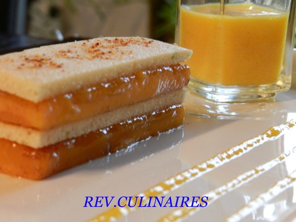 Millefeuille de mangue poêlée, sorbet mangue vodka