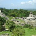 Palenque - View of the Temple of Inscriptions and Palace from the Temple of the Cross