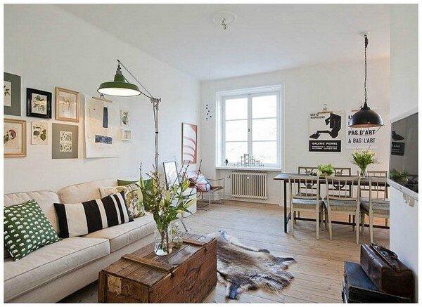 deco scandinave salon coffre en bois