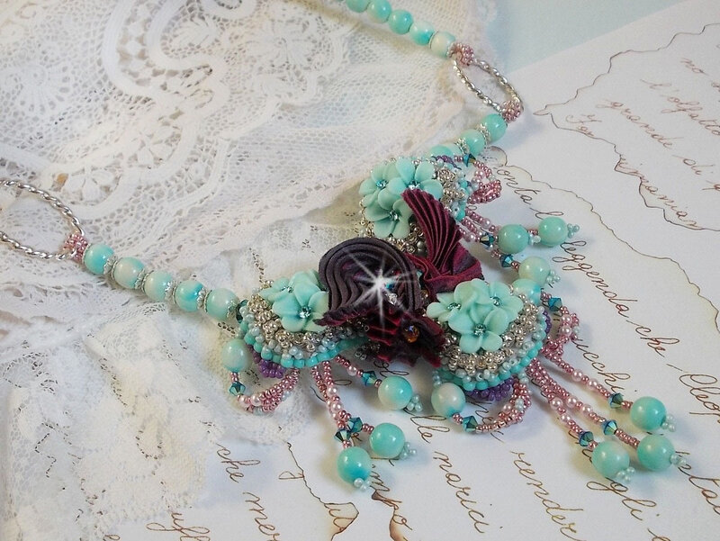 Collier Blue Flowers 7-1
