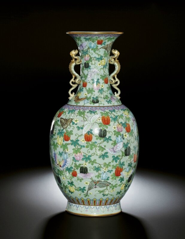 A very rare and finely enamelled 'famille-rose' celadon ground butterfly vase, Seal mark and period of Qianlong (1736-1795)