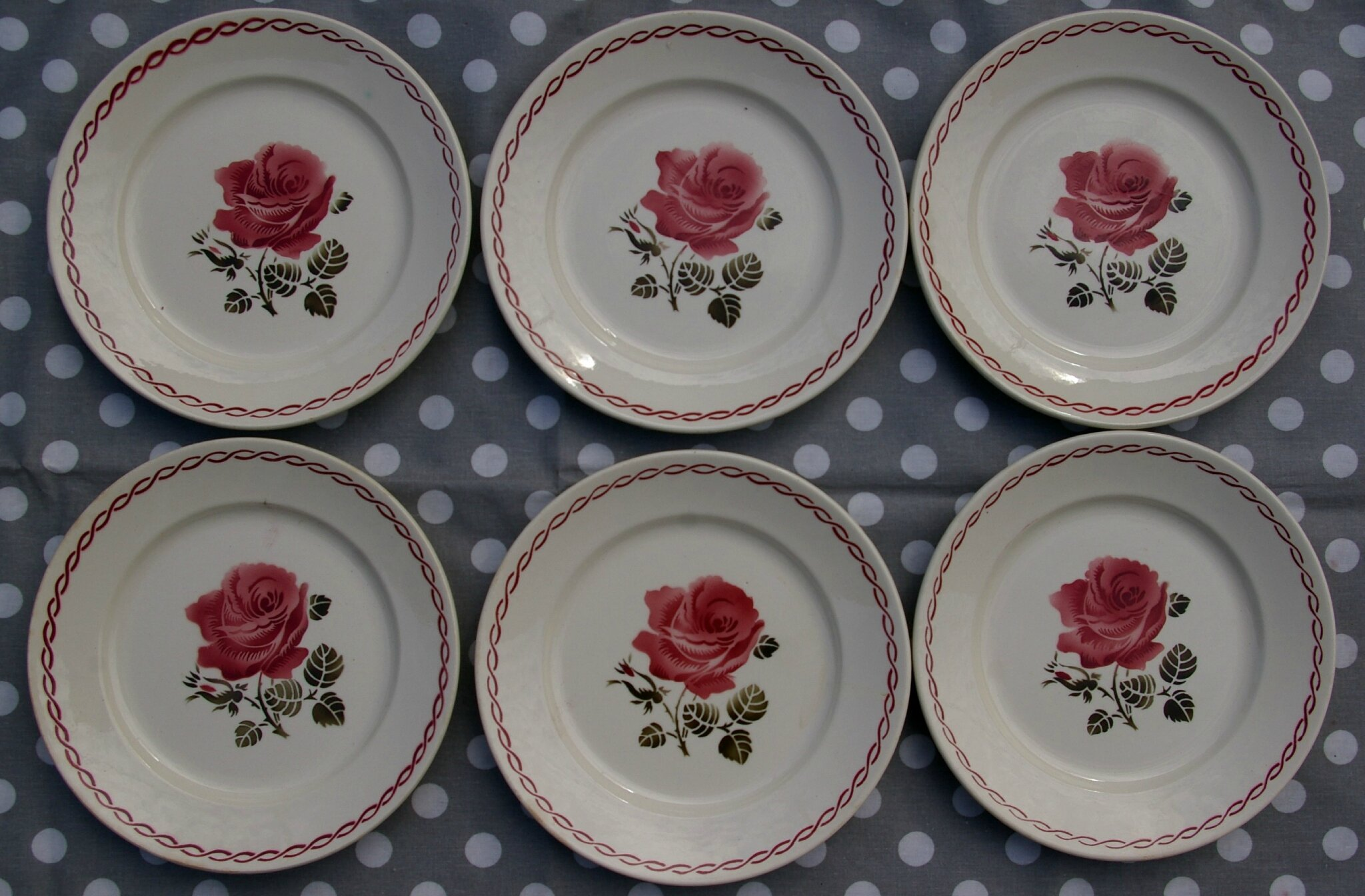 6 ASSIETTES PLATES BADONVILLER DECOR GERMAINE série n°1