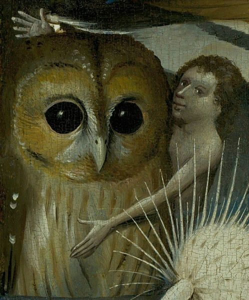 The Garden of Earthly Delights - central panel - Detail Owl with boy - Jérôme Bosch