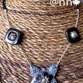 Collier FIMO papillon multi gris (N)