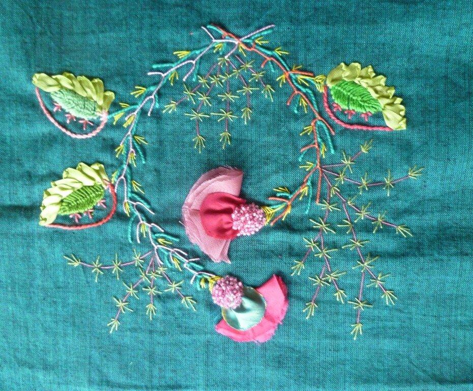 fleurs de chiffon perlées
