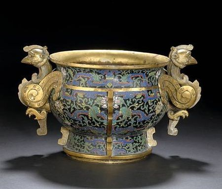 A_rare_black_ground_cloisonn__enameled_bronze_censer_with_phoenix_handle_mounts