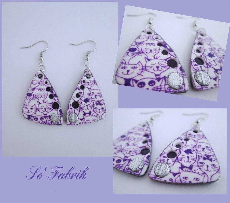 BOUCLES chats silk-violet modèle à trous