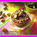 Muffins aux mûres, chocolat, noisettes, farine de châtaigne...
