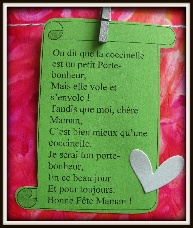 Les petits cadres de f te des m res les photos cr adanne - Poeme coccinelle porte bonheur ...