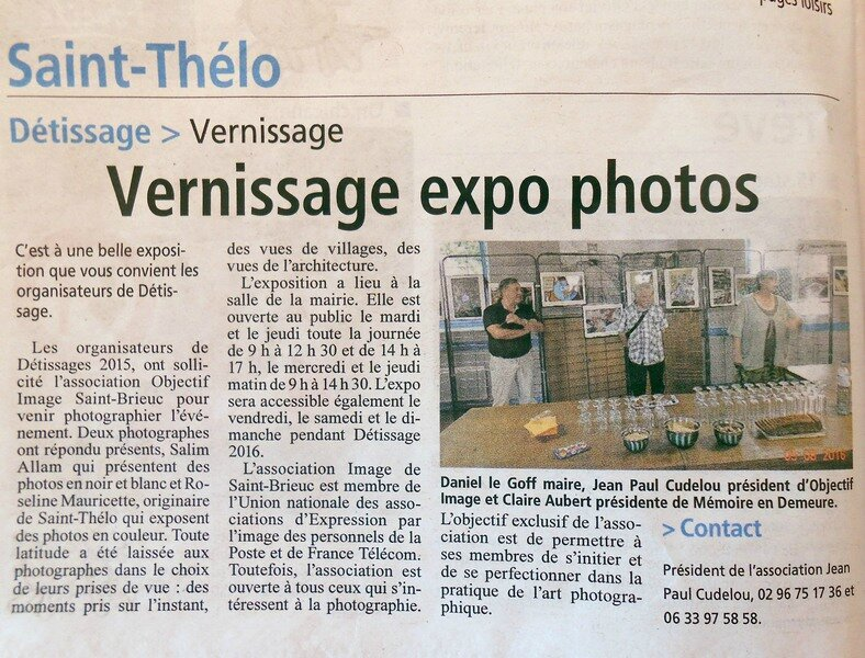 Expo photo à Saint-Thélo articles du Courrier indépendant
