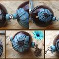 Collier 3 boules turquoise et marron