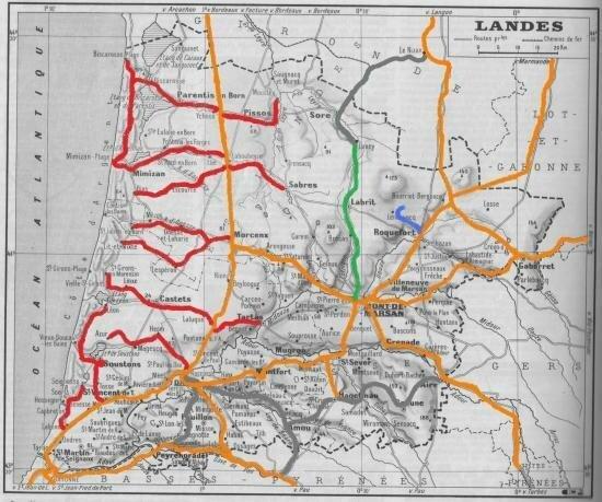 Landes---carte-des-voies-ferres--voie-normale