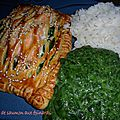 Jalousies saumon épinards