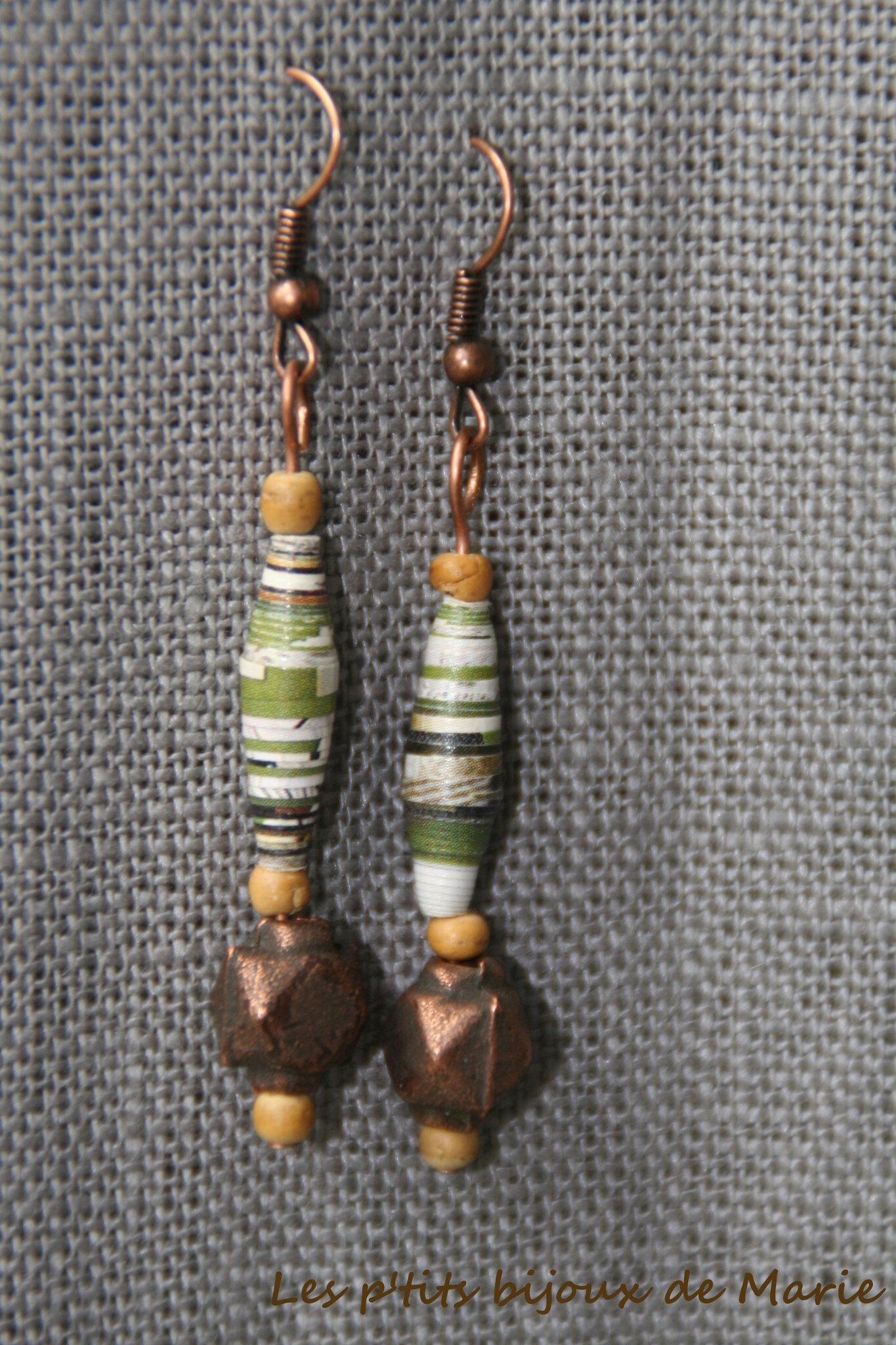 Boucles cuivre et vert