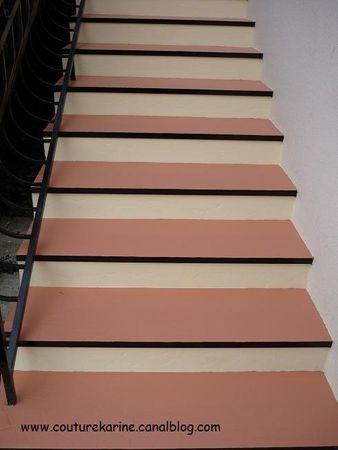 Travaux escaliers ext rieurs suite et fin le d for Peinture marche escalier