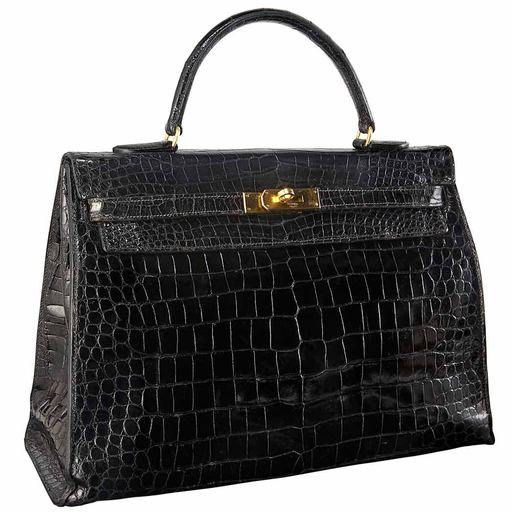 Black Crocodile Leather 'Sellier Kelly' Bag, Hermes, Paris