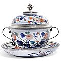 A french silver mounted two-handled imari bowl and cover, the mounts, paul leriche, paris, 1722-1726