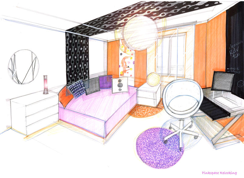 Relooking chambre pop 13 pinkspace audrey clain architecte coach deco for Chambre perspective