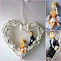 Mariés sur coeur en osier en porcelaine froide