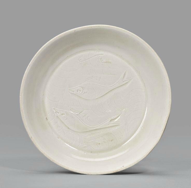 A small 'Ding' incised 'Twin fish' dish, Song dynasty