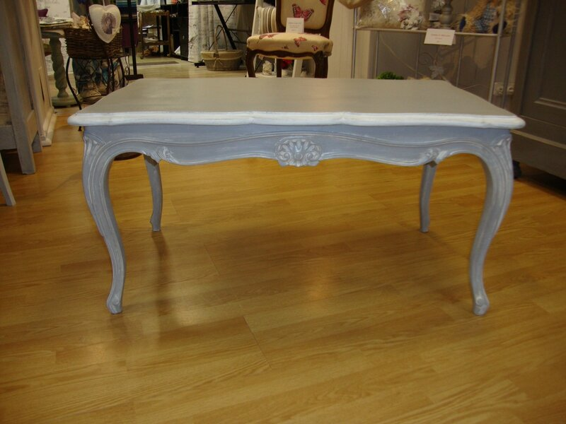 Table basse style louis xv patine grise kr ative d co for Table basse en merisier
