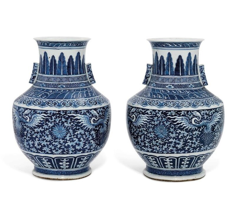 A pair of large blue and white 'phoenix and lotus' vases, hu, 18th-19th century