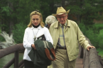 Hillary Clinton with Laurance Rockefeller at the JY Ranch, Jackson Hole, Wyo, August 21, 1995