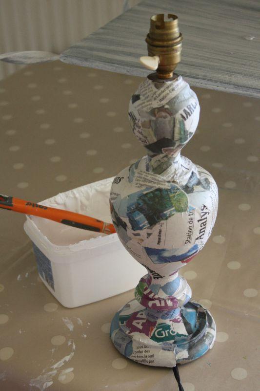 Diy tuto electrifier une lampe la brocante de margote - Lampe en papier mache ...
