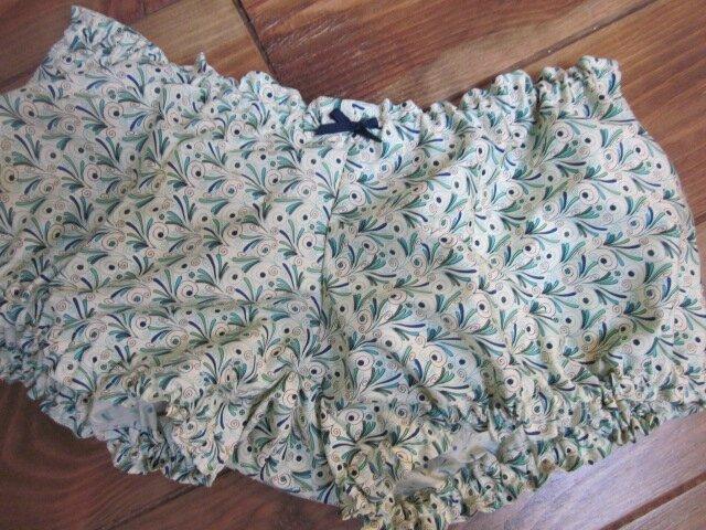 Culotte BIANCA en coton plumettes vert et turquoise - noeud marine (1)