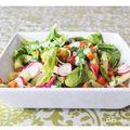 Salade toute fraîche au saumon fume et legumes crus