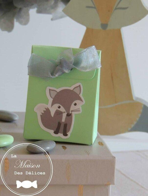 contenant dragees bapteme theme renard animaux foret gris vert mint2