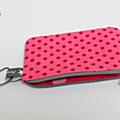 Porte monnaie rose pois rouge