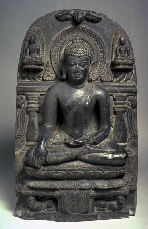 The Buddha triumphing over Mara, flanked by two seated Buddhas