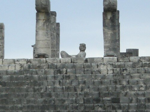 Chichen Itza - Chac Mool top of Temple of the Warriors