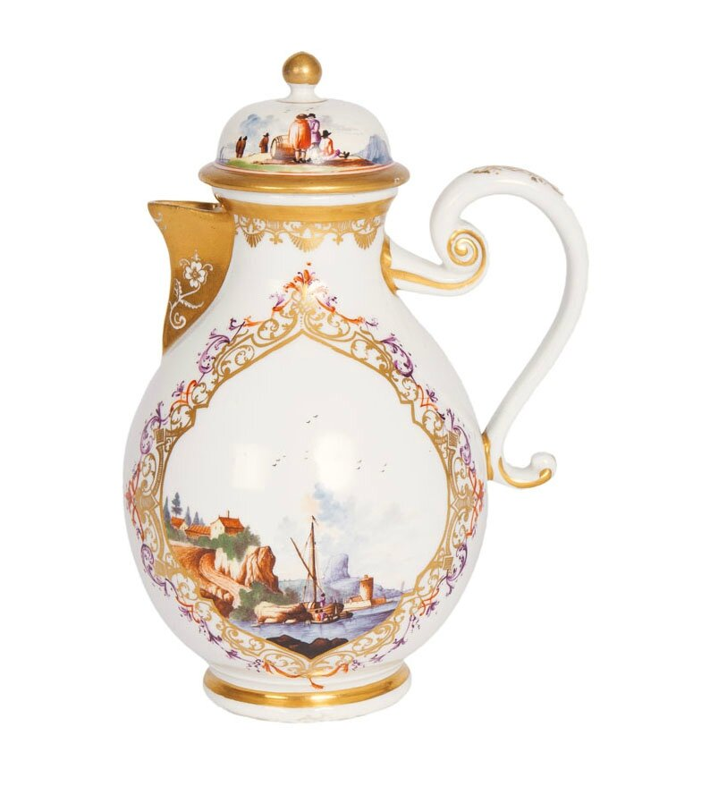 An early coffeepot with fine harbour scenes, Meissen, around 1730