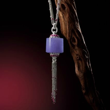 "Fine Lavender Jadeite ""Archer's Ring"", Ruby and Diamond Pendent Necklace"