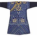 An embroidered blue silk gauze summer dragon robe, late qing dynasty