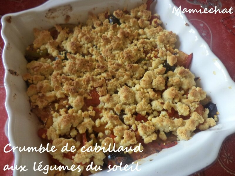 crumble de cabillaud aux l gumes du soleil le blog de chantal76. Black Bedroom Furniture Sets. Home Design Ideas