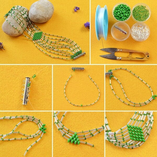600-Tutorial-on-How-to-Make-Bulge-Beads-Bracelet-with-Green-2-Hole-Seed-Beads