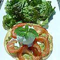 Tarte fine à la tomate, glace mozzarella-basilic