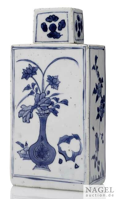 A rectangular blue and white porcelain bottle and cover, China, 17th century
