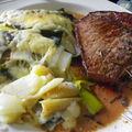 Gratin poireaux-patates-oignons-cheddar et round steak