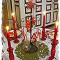 Table de Noël en vichy rouge
