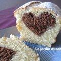 Cake surprise au coeur chocolat café